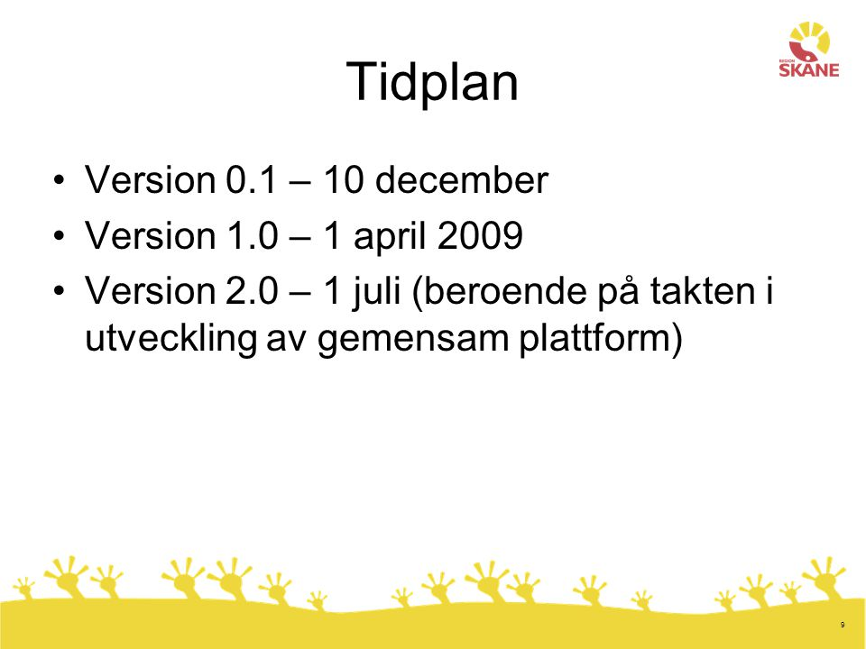 Tidplan Version 0.1 – 10 december Version 1.0 – 1 april 2009