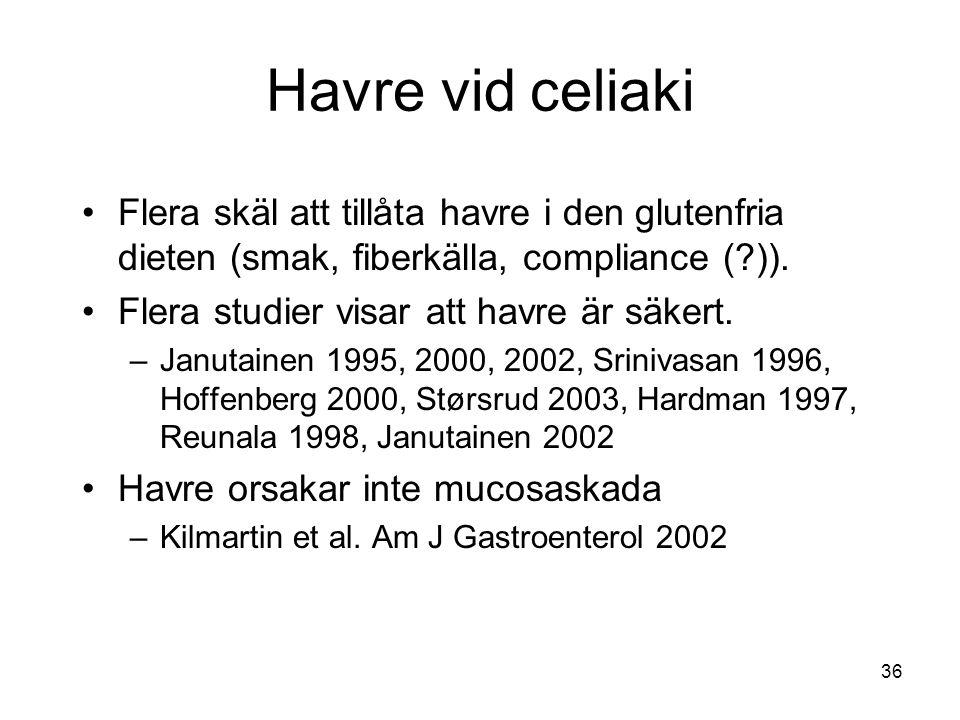 Havre vid celiaki Flera skäl att tillåta havre i den glutenfria dieten (smak, fiberkälla, compliance ( )).