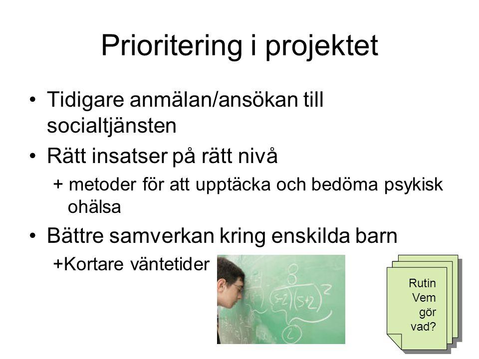 Prioritering i projektet