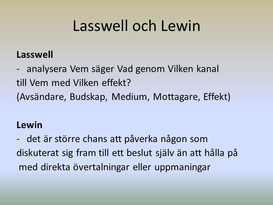 Lasswell och Lewin Lasswell analysera Vem säger Vad genom Vilken kanal