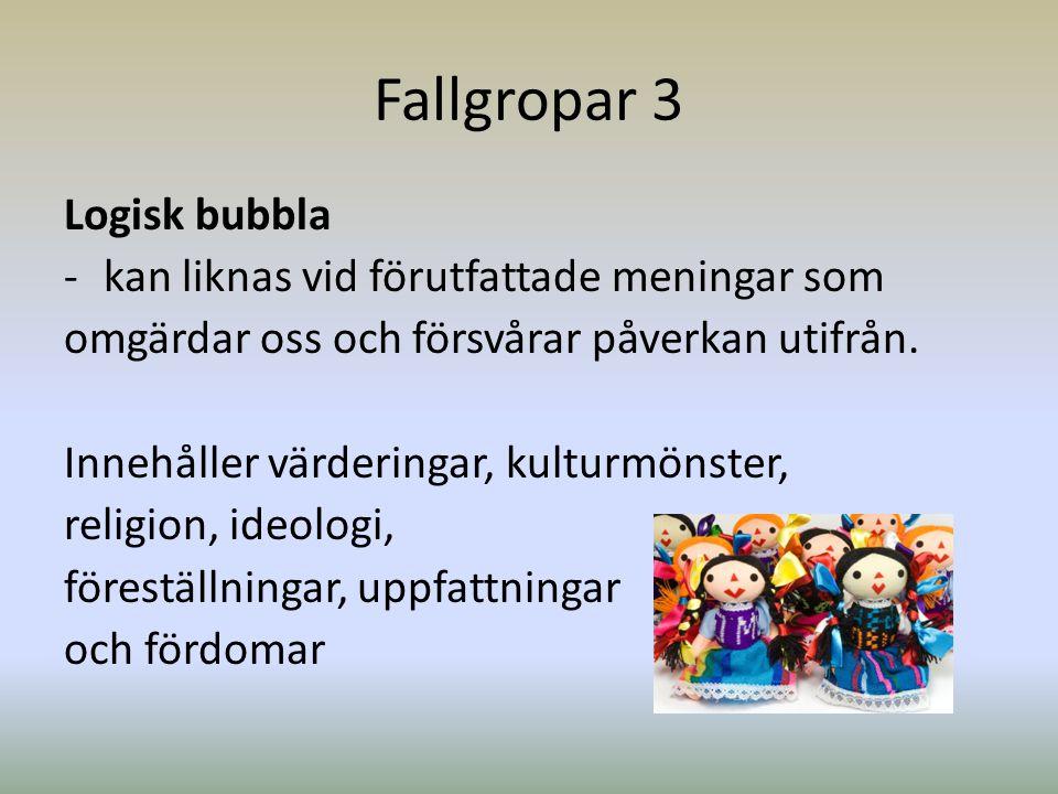 Fallgropar 3 Logisk bubbla kan liknas vid förutfattade meningar som