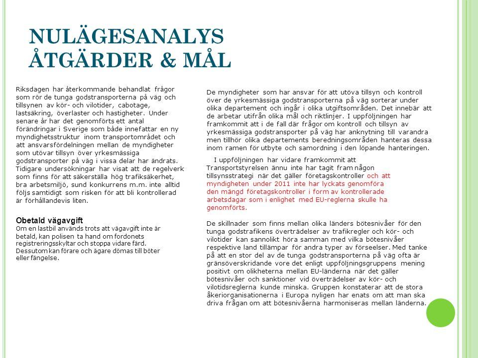 NULÄGESANALYS ÅTGÄRDER & MÅL