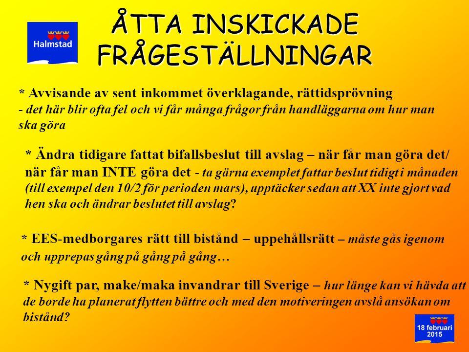 ÅTTA INSKICKADE FRÅGESTÄLLNINGAR