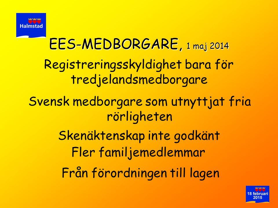 EES-MEDBORGARE, 1 maj 2014 Registreringsskyldighet bara för tredjelandsmedborgare. Svensk medborgare som utnyttjat fria rörligheten.