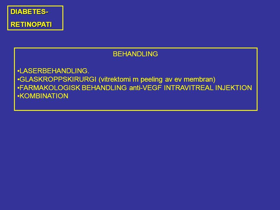 DIABETES- RETINOPATI. BEHANDLING. LASERBEHANDLING. GLASKROPPSKIRURGI (vitrektomi m peeling av ev membran)