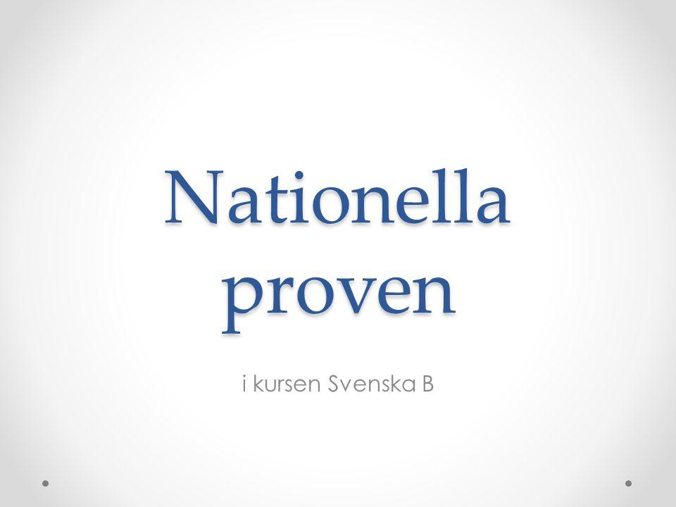 Nationella proven i kursen Svenska B