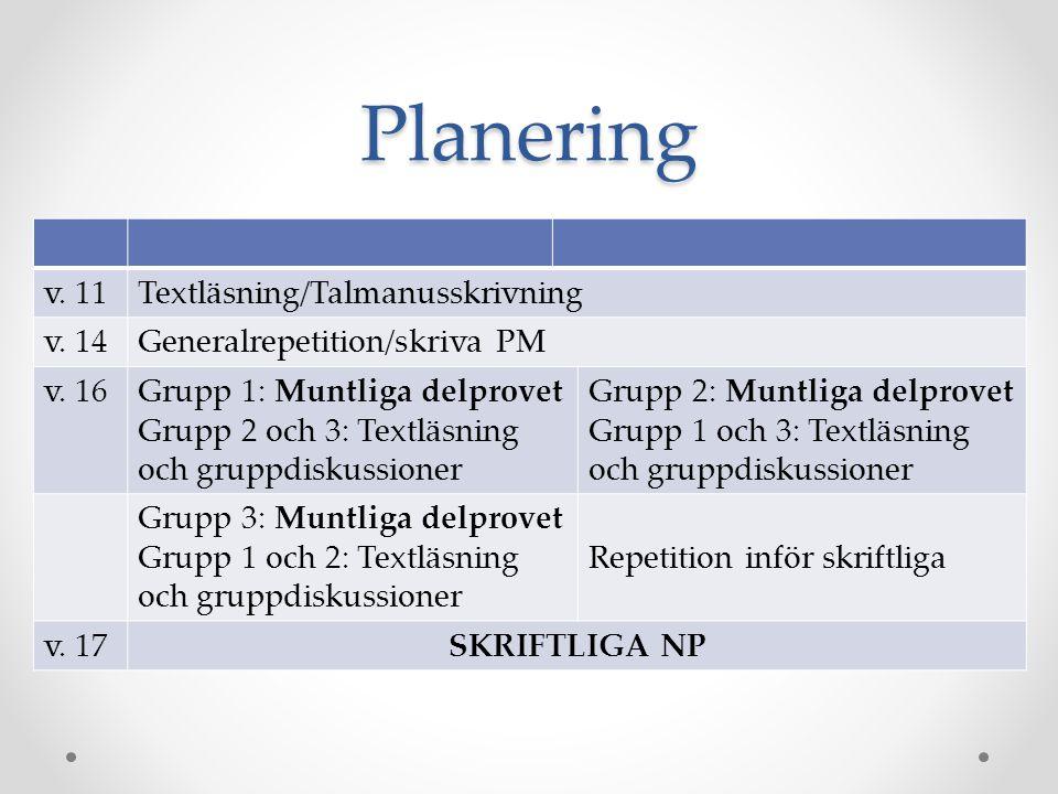 Planering v. 11 Textläsning/Talmanusskrivning v. 14