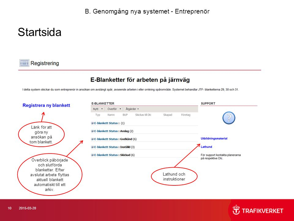 Startsida B. Genomgång nya systemet - Entreprenör