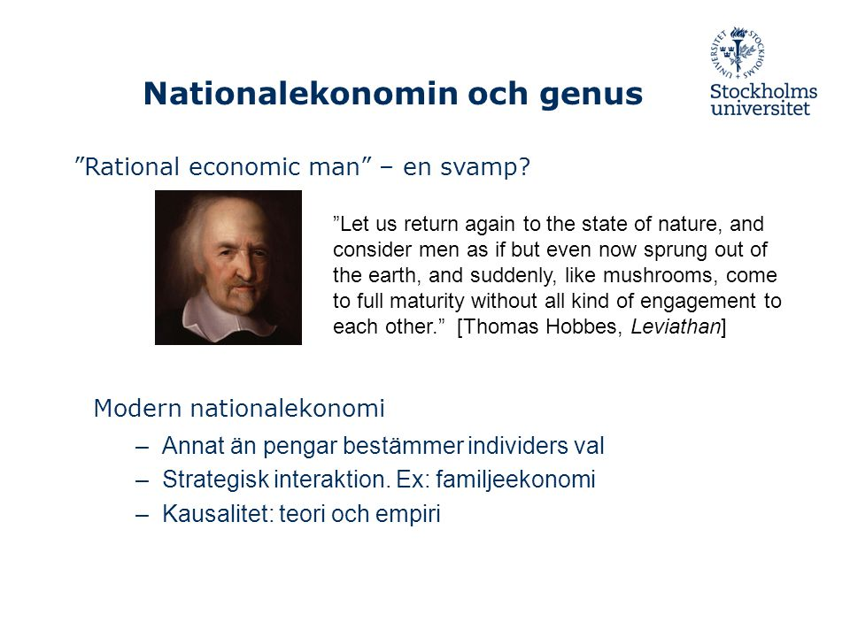 Nationalekonomin och genus