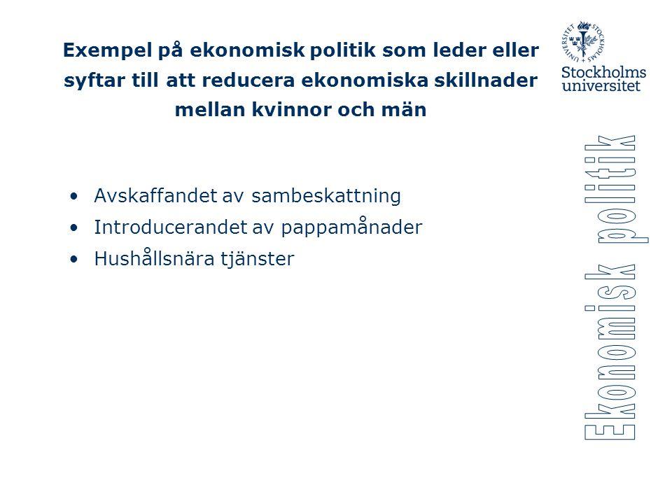 Exempel på ekonomisk politik som leder eller syftar till att reducera ekonomiska skillnader mellan kvinnor och män