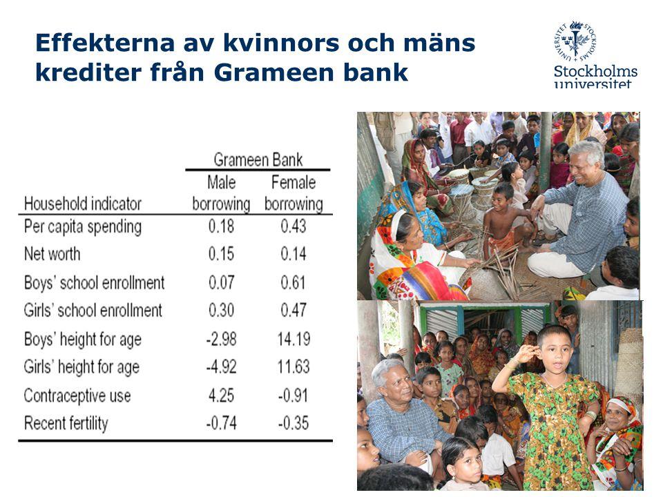 Effekterna av kvinnors och mäns krediter från Grameen bank