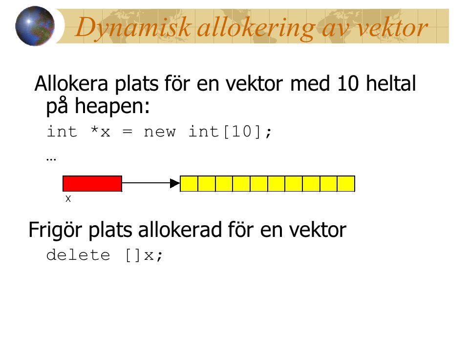 Dynamisk allokering av vektor
