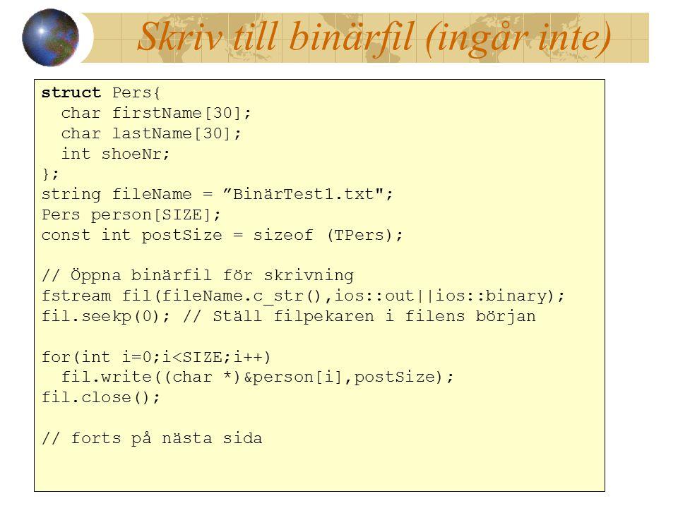 Skriv till binärfil (ingår inte)