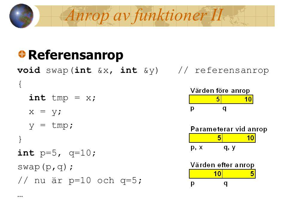 Anrop av funktioner II Referensanrop