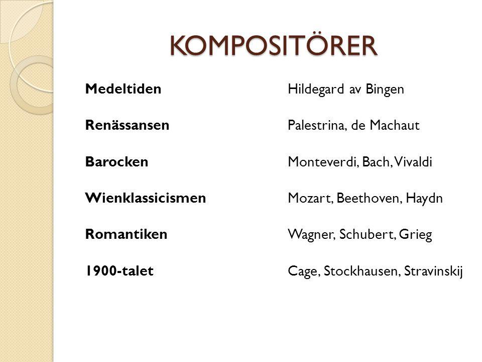 KOMPOSITÖRER Medeltiden Renässansen Barocken Wienklassicismen