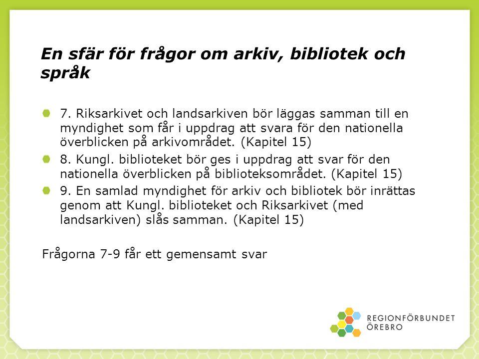 En sfär för frågor om arkiv, bibliotek och språk
