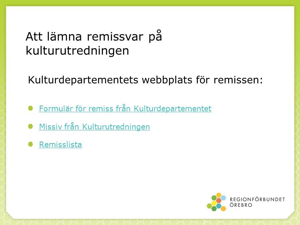 Kulturdepartementets webbplats för remissen:
