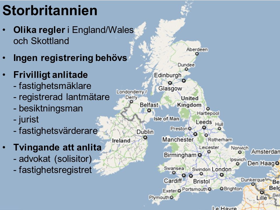 Storbritannien Olika regler i England/Wales och Skottland