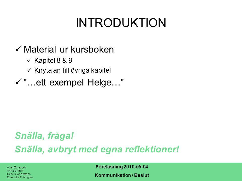INTRODUKTION Material ur kursboken …ett exempel Helge…