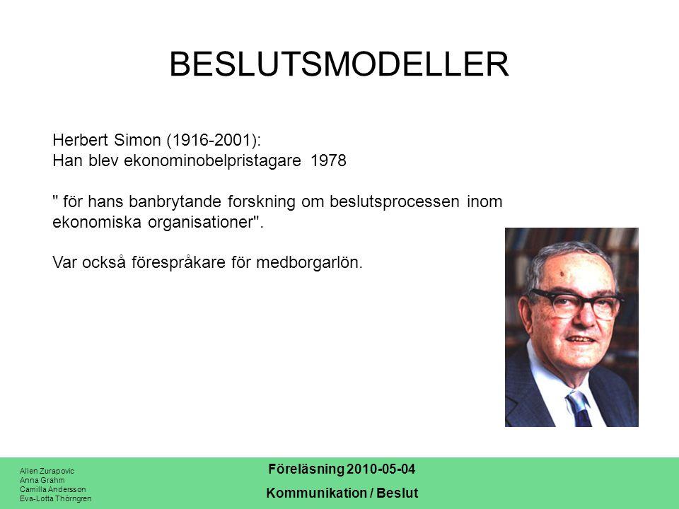 BESLUTSMODELLER Herbert Simon (1916-2001):