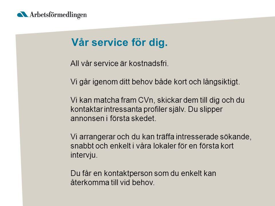 Vår service för dig. All vår service är kostnadsfri.