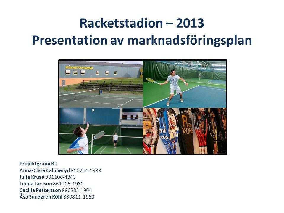Racketstadion – 2013 Presentation av marknadsföringsplan