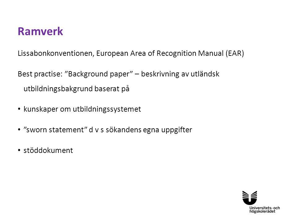 Ramverk Lissabonkonventionen, European Area of Recognition Manual (EAR)