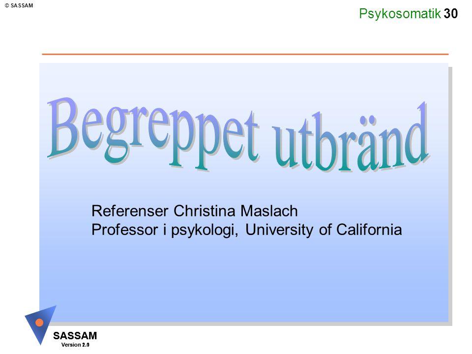 Begreppet utbränd Referenser Christina Maslach