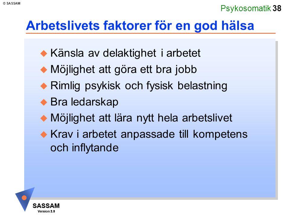 Arbetslivets faktorer för en god hälsa
