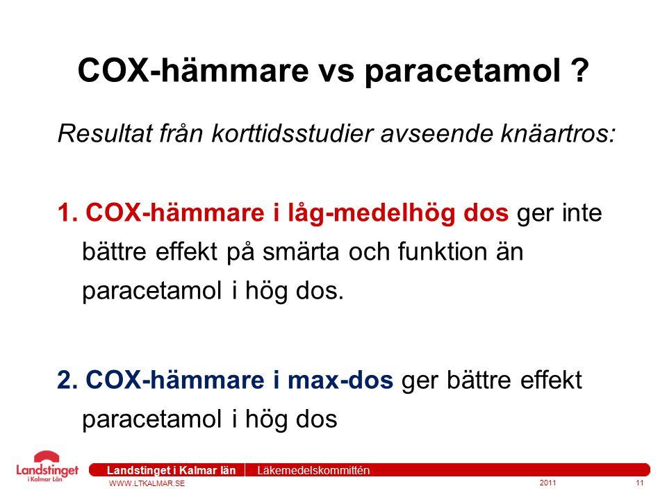 COX-hämmare vs paracetamol