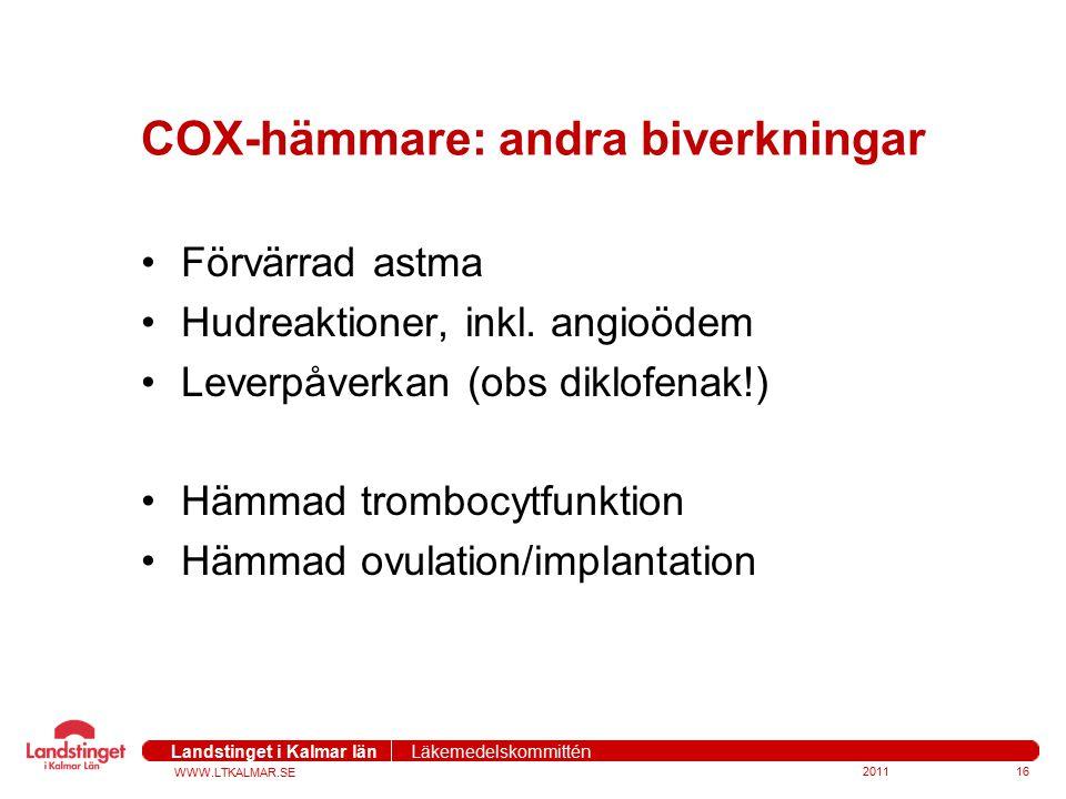COX-hämmare: andra biverkningar