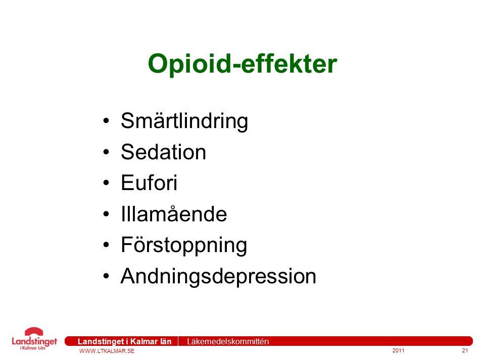 Opioid-effekter Smärtlindring Sedation Eufori Illamående Förstoppning