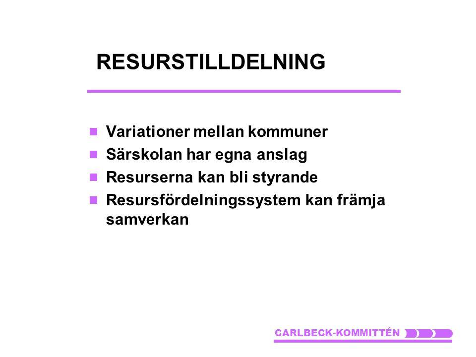RESURSTILLDELNING Variationer mellan kommuner