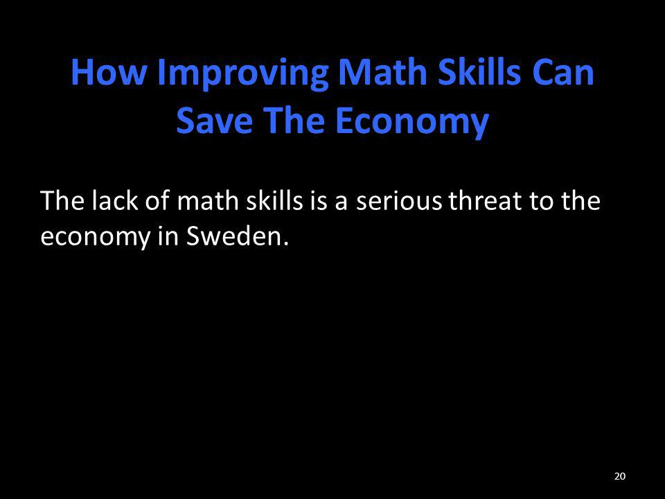 How Improving Math Skills Can Save The Economy
