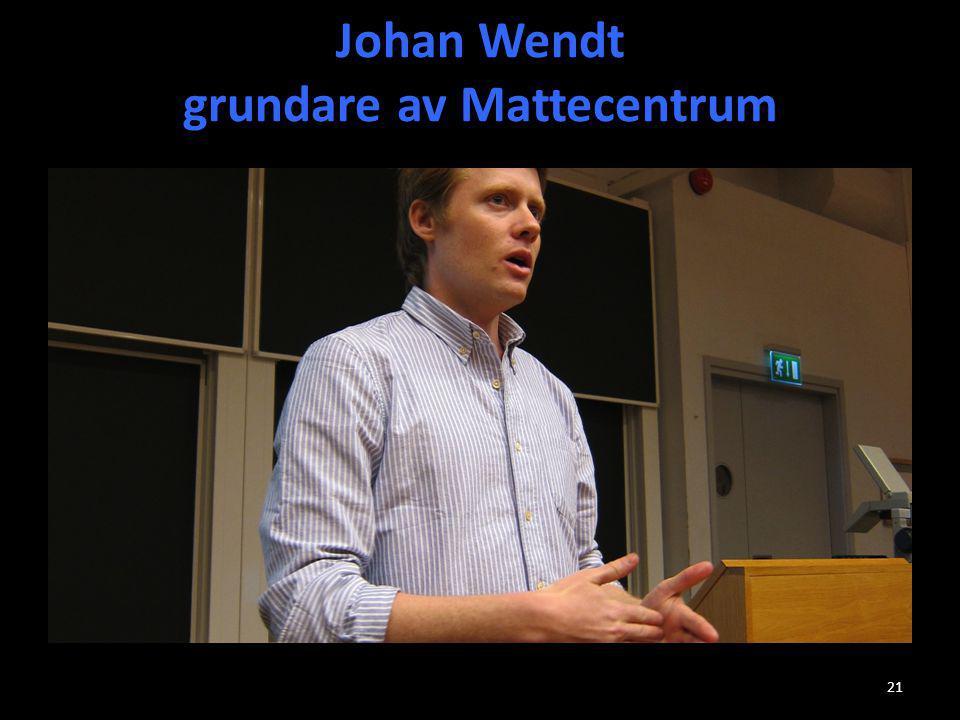 Johan Wendt grundare av Mattecentrum
