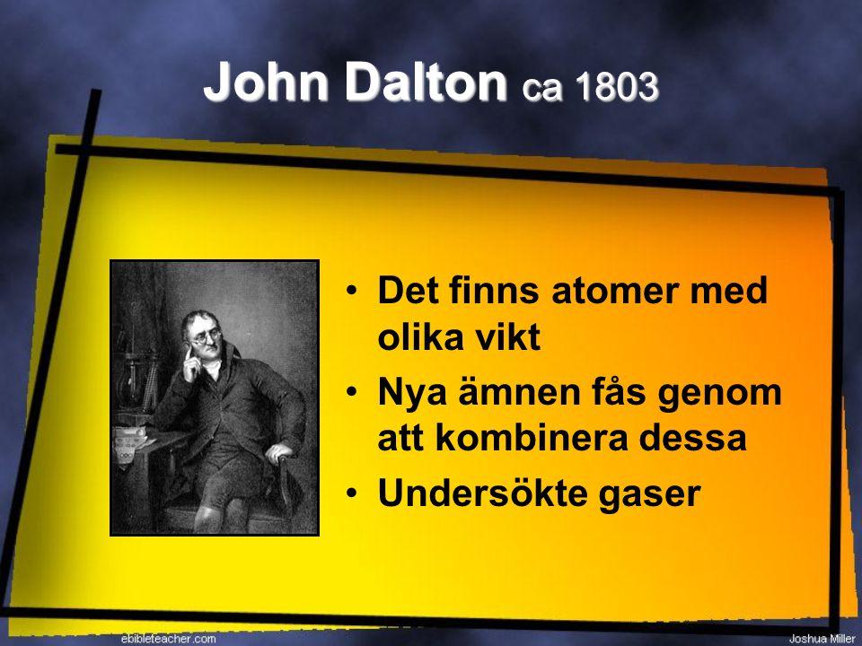 John Dalton ca 1803 Det finns atomer med olika vikt
