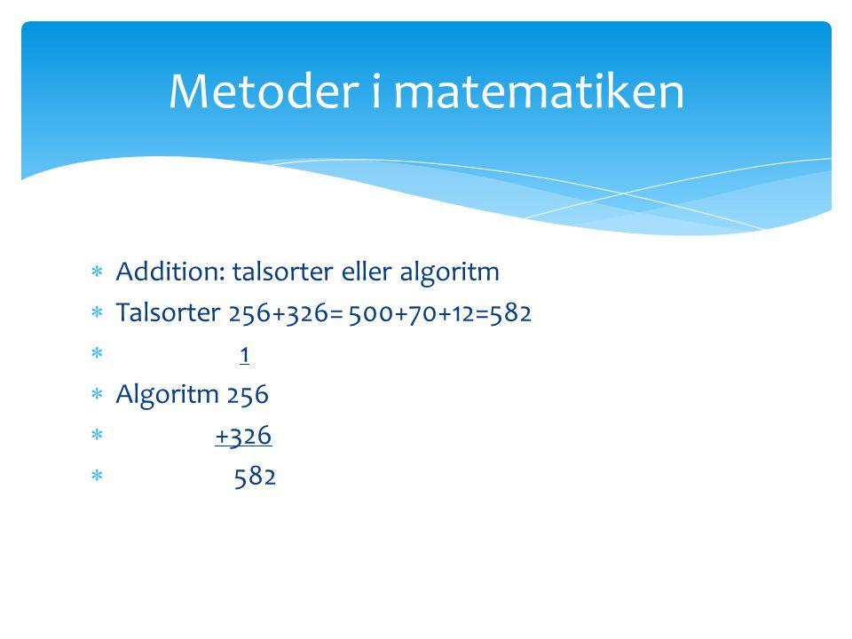 Metoder i matematiken Addition: talsorter eller algoritm