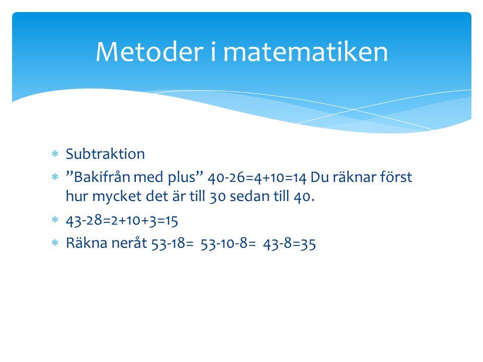 Metoder i matematiken Subtraktion