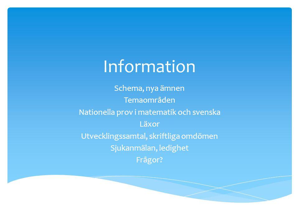 Information Schema, nya ämnen Temaområden