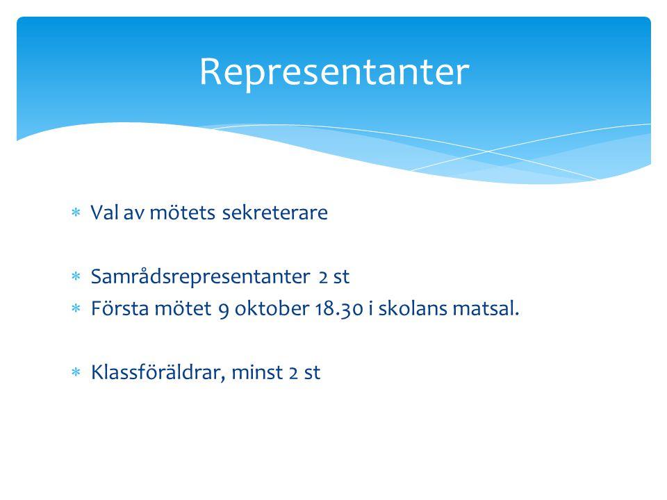 Representanter Val av mötets sekreterare Samrådsrepresentanter 2 st