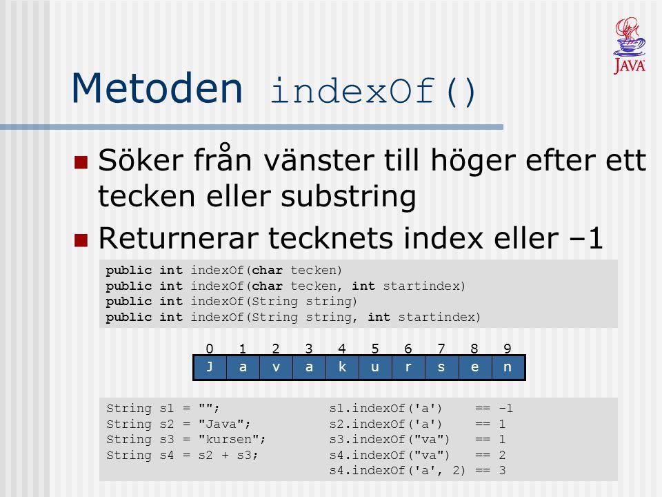 Metoden indexOf() Söker från vänster till höger efter ett tecken eller substring. Returnerar tecknets index eller –1.