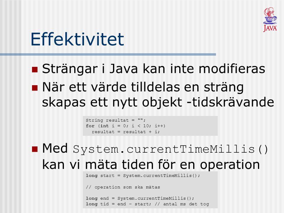Effektivitet Strängar i Java kan inte modifieras