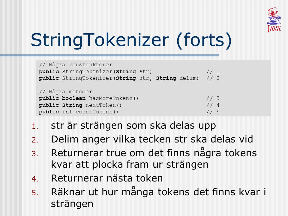 StringTokenizer (forts)