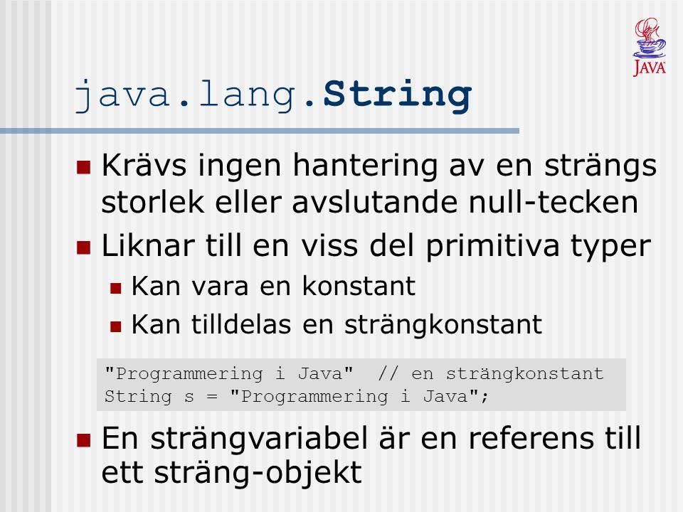 java.lang.String Krävs ingen hantering av en strängs storlek eller avslutande null-tecken. Liknar till en viss del primitiva typer.