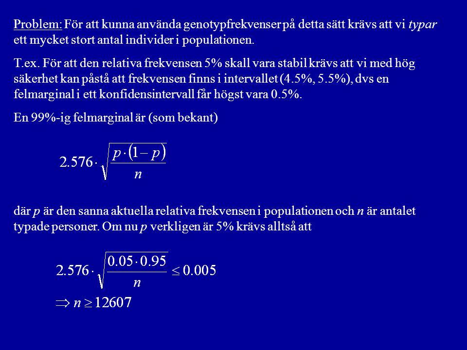 Problem: För att kunna använda genotypfrekvenser på detta sätt krävs att vi typar ett mycket stort antal individer i populationen.