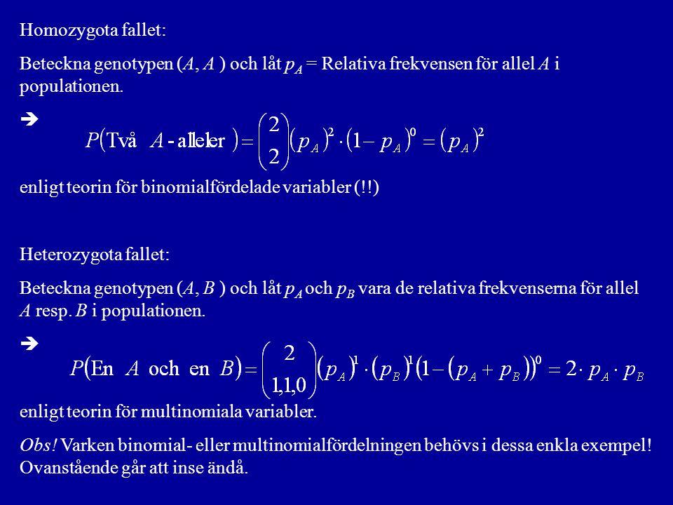 Homozygota fallet: Beteckna genotypen (A, A ) och låt pA = Relativa frekvensen för allel A i populationen.