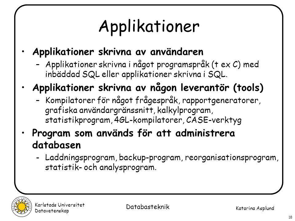 Applikationer Applikationer skrivna av användaren