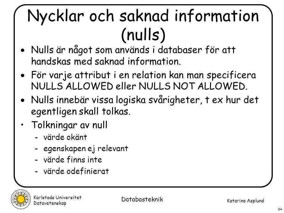 Nycklar och saknad information (nulls)