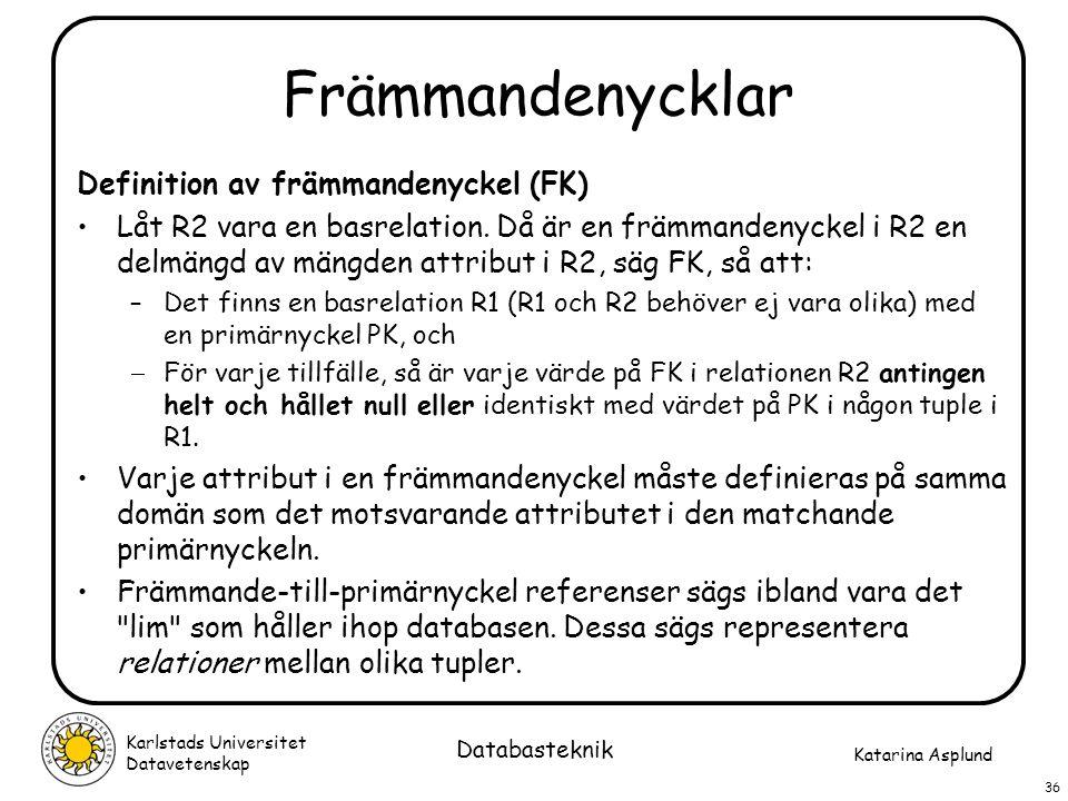 Främmandenycklar Definition av främmandenyckel (FK)