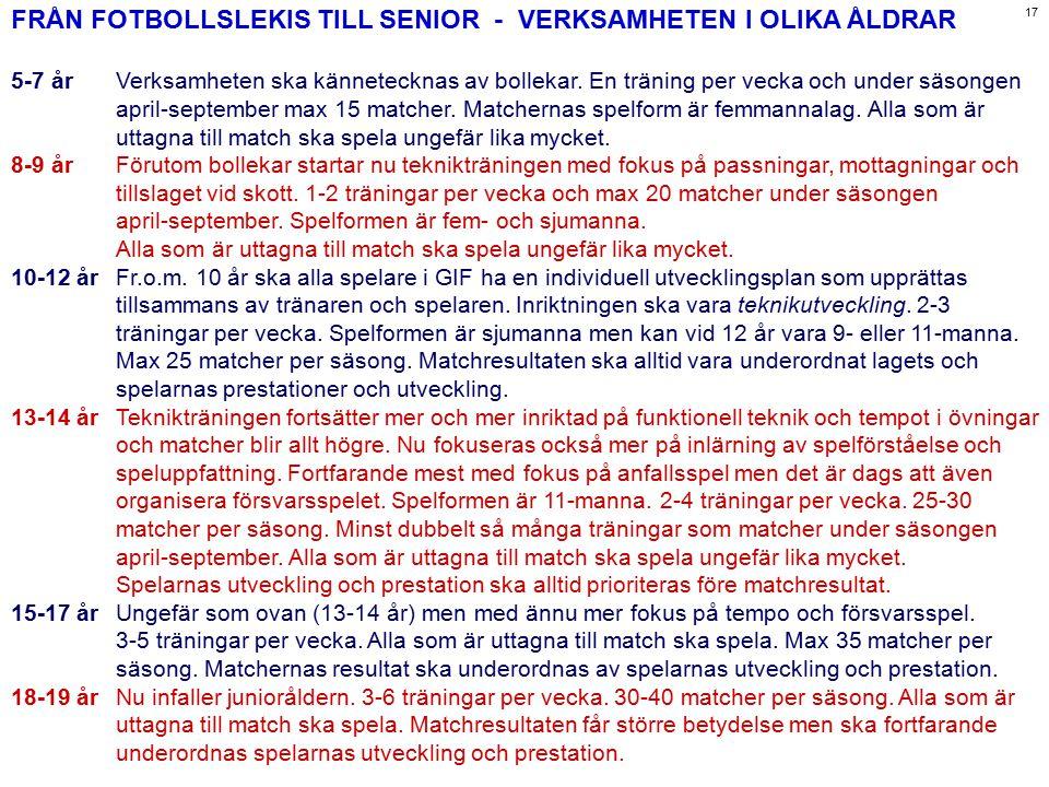 FRÅN FOTBOLLSLEKIS TILL SENIOR - VERKSAMHETEN I OLIKA ÅLDRAR